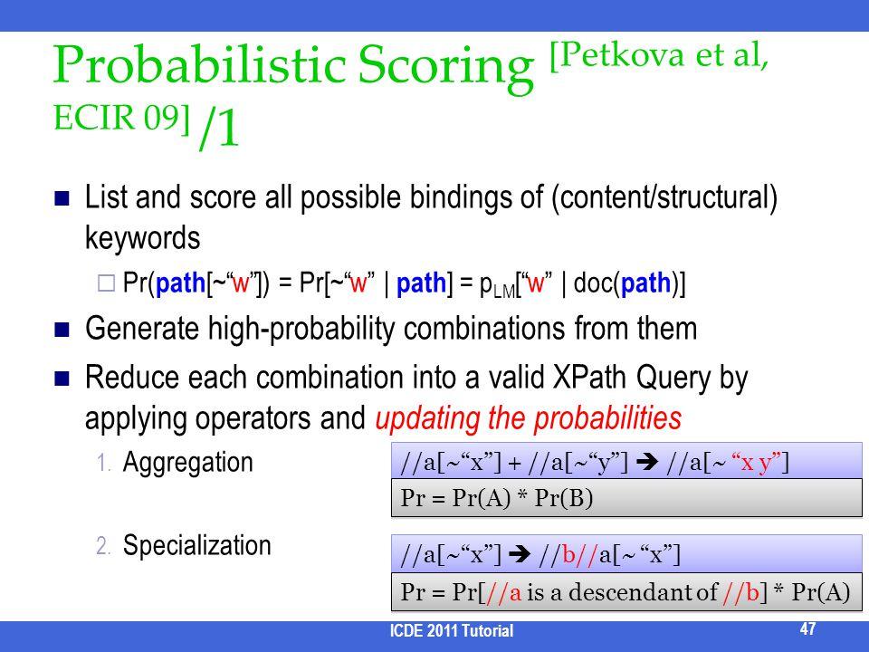 Probabilistic Scoring [Petkova et al, ECIR 09] /1